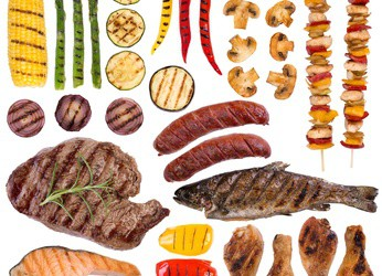 Grilled meat, fish and vegetables isolated on white
